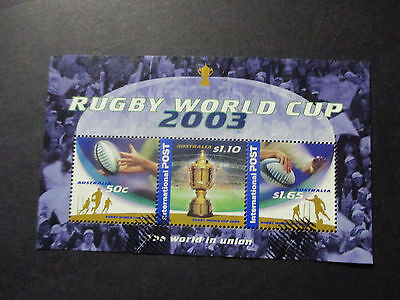 6--2003 Aust;  Rugby  World  Cup  Mini  Sheet--Used--  No  Gum    -A1