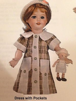 "New BLEUETTE GOLD 10.5"" JUMEAU DOLL 2 DRESSES PATTERN FRENCH GERMAN CHILD"