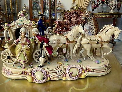 BEAUTIFUL Antique HAND PAINTED Porcelain Coach Carriage Horses Figurine GERMANY