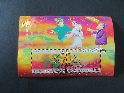 No-2--2001   YEAR  OF  THE  SNAKE  -- MINI  SHEET    -used cancelled  1st  day