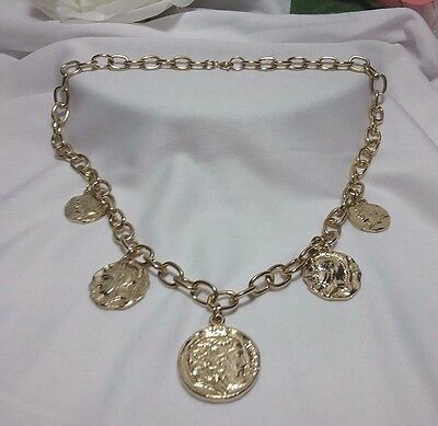 Vintage Estate Gold Multi Coin Dangle Chain Link Roman Greek Warrior Necklace