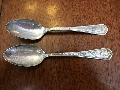 Lot 2 1930's Quaker Oats Advertising Spoons The Quaker Man Early Birds Peerless