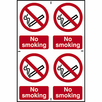 Scan No Smoking Sign Pack of 4 100mm 150mm Standard