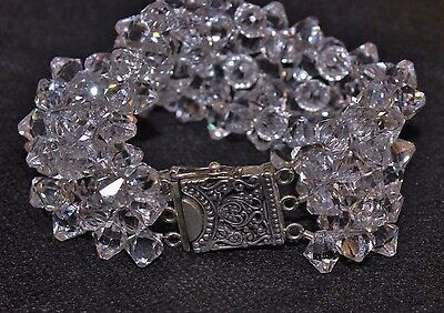 Rock Crystal Quartz 1940's Vintage 925 Sterling Art Deco Multi-Strand Bracelet !