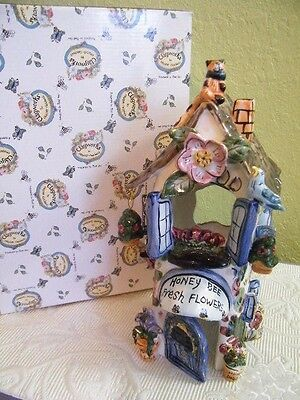 """Collectibles Blue Sky Clay Works Honey Bee Fresh Flowers House Tea Lite 12.5"""""""