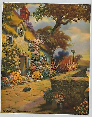 Vintage 1930s-40s Print: Cottage by the Sea Flowers Floral English Cottage Noble