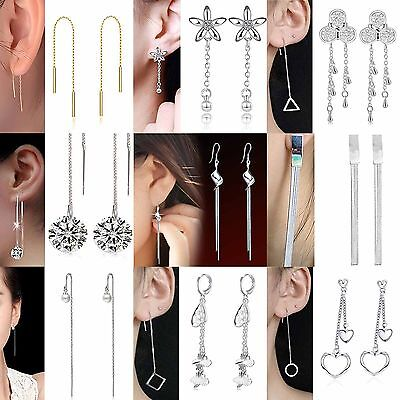 Newest Women Crystal Flower 925 Silver Drop Long Dangle Chain Ear Stud Earrings