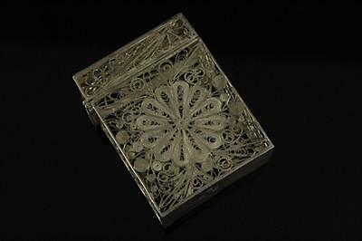 19Th Century Chinese Export Sterling Silver Filigree Case With Hallmark 古董纯银丝盒