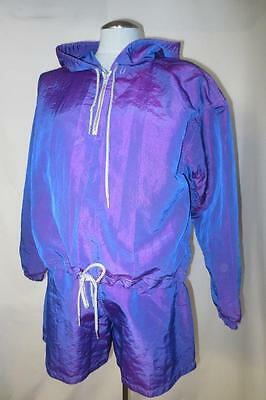 80's Hip Hop Iridescent Purple 2 Piece Windbreaker & Shorts Set Road Rage Jean M