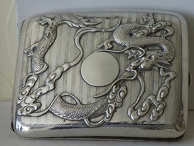 19Th Century China Chinese Woshing High Relief Dragon Solid Silver Card Case 纯银盒
