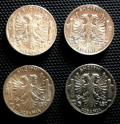 albania coins 4 pcs  5 lek 1939 , silver   italian occupation.