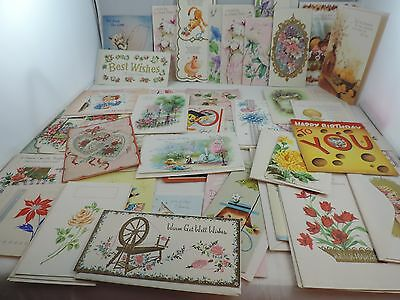 Large Lot of Vintage Greeting Cards 45+ Cards Crafting Scrapbook Graphics Pop Up