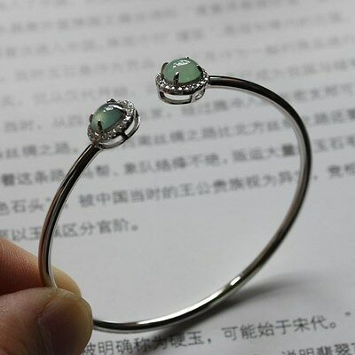 CERTIFIED Natural (A) Untreated Icy Light Green Jadeite JADE Bracelet 925 Silver