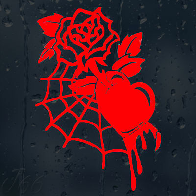 Beautiful Flower Web Rose Bloody Heart Car Decal Vinyl Sticker