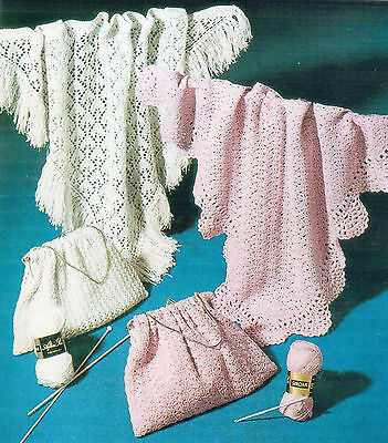 Sirdar Knit & Crochet Pattern for Baby SHAWLS in 4 Ply