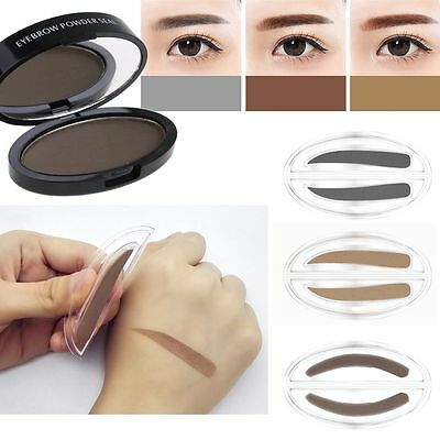 Fashion Eyebrow Shadow Definition Makeup Brow Stamp Powder Palette Natural Tool