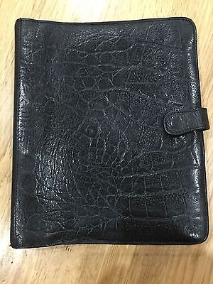 Vintage Mulberry black Congo nile leather large planner agenda organiser diary