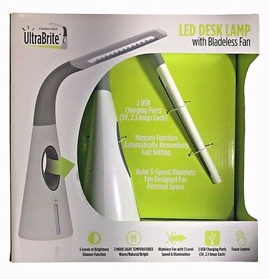 UltraBrite LED Desk Lamp with Bladeless Fan 2 USB Charging Ports Touch Control