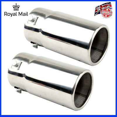 Universal 2x Round Car Exhaust Pipe Tail Muffler Tip Pipe Stainless Steel Chrome