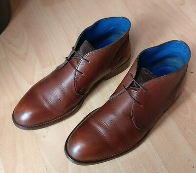 Massimo Dutti Mens Brown Leather Lace Up Chukka Smart Boots Shoes Size Uk 7 41