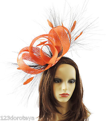 Orange Fascinator for Ascot, Weddings, Proms, Derby R1