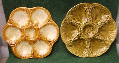 2 Vintage French Majolica Oyster Plates, Ideal to start a collection !