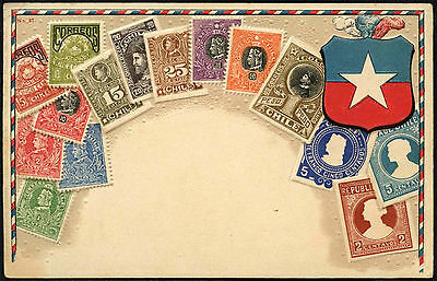 Chile 1900's Embossed Stamps Illustrated Postcard #C41663