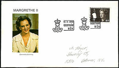 Greenland 1980, 80ore Queen Margrethe Definitive FDC First Day Cover #C41439