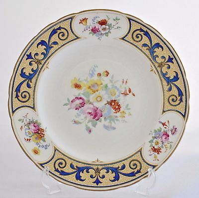 """Art Deco Royal Crown Derby Hand Over-Painted Floral 10.25"""" Plate A242 C.1936"""