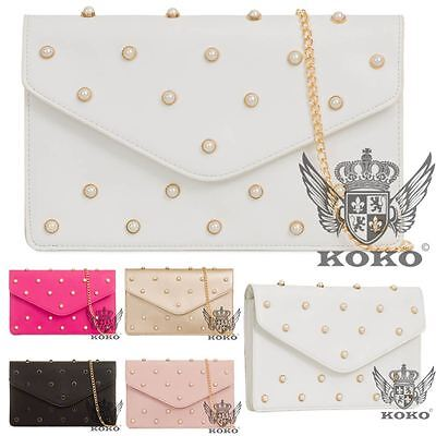 New Womens Faux Leather Pearls Studs Gold Chain Strap Evening Clutch Bag