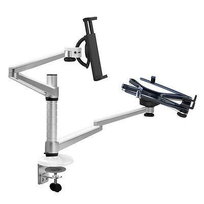 Aluminum 2 Arm Tablet Stand Desk Clamp Monitor Holder For iPad Air Mini MacBook