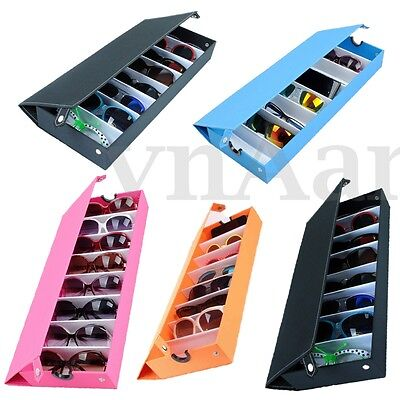 8 Slot Grid Sunglasses Glasses Case Storage Display Stand Cover Eyeglass Holder