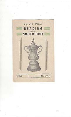 Reading v Southport FA Cup Replay Pirate Football Programme 1951/52