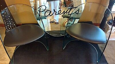 Pair of Bent Glass Tub Chairs 1980s