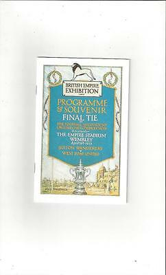 Bolton Wanderers v West Ham United FA Cup Final Football Programme 1923 reprint