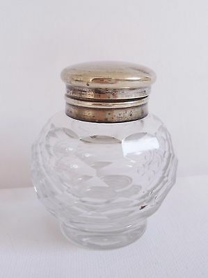 Vintage/antique Faceted Glass/silver Metal Ink Well/bottle~Writing/desktop/write