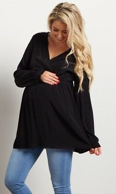 Pink Blush Black Babydoll Long Sleeve Top Shirt NEW