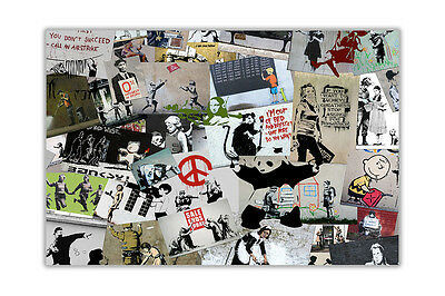 Cream Collage Best of Banksy Poster Prints Wall Art Decor Quality Gloss Paper