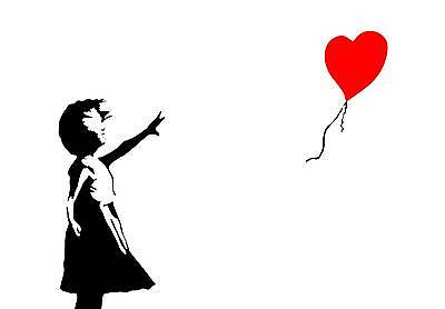 Famous Heart Balloon Girl by Banksy Poster Print Wall Art Picture On Gloss Paper