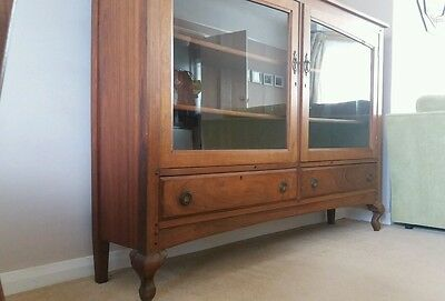 ANTIQUE GLAZED BOOKCASE large display cabinet walnut vintage shelves sideboard