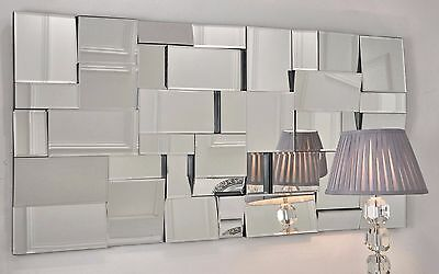 "Earthquake Silver Modern Rectangle Facet Wall Mirror 55"" x 28"" X Large"