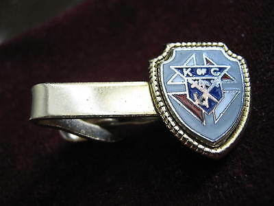 """Vintage 1 3/16"""" Wide Tie Clip KNIGHTS OF COLUMBUS Red, Blue & White Enamel KofC"""