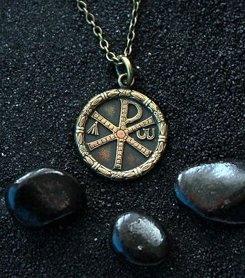 Chi Rho Labarum Christogram Monogram of Christ : Bronze handmade pendant h