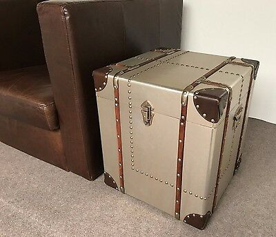 Square Side Table Storage Chest INDUSTRIAL / VINTAGE AVIATOR ALUMINIUM TRUNK BOX