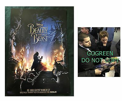 Emma Watson signed Beauty and the Beast poster EXACT photo proof Belle Hermione