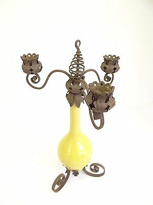 Antique Chandelier Candle Holder Metal Wrought Iron Ceramic Repurposed Hanging