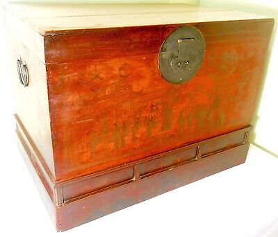 Antique Chinese Red Lacquer Trunk (2647), Circa 1800-1849