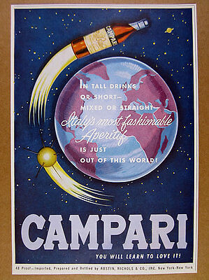 1961 Campari Aperitif COOL rocket bottle earth outer space art vintage print Ad