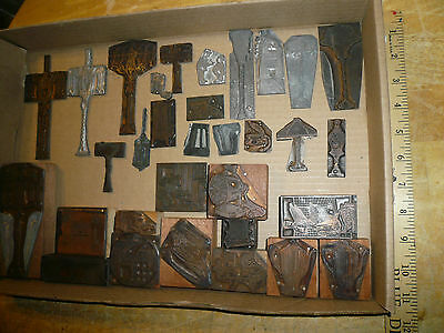 32 Vintage Printers Copper & Lead Metal Wooden Letterpress Blocks