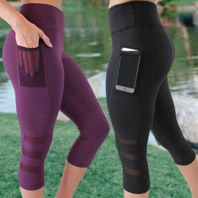 US 3/4 Cropped Women Yoga Fitness Leggings Running Gym Stretch Sports Pants S768